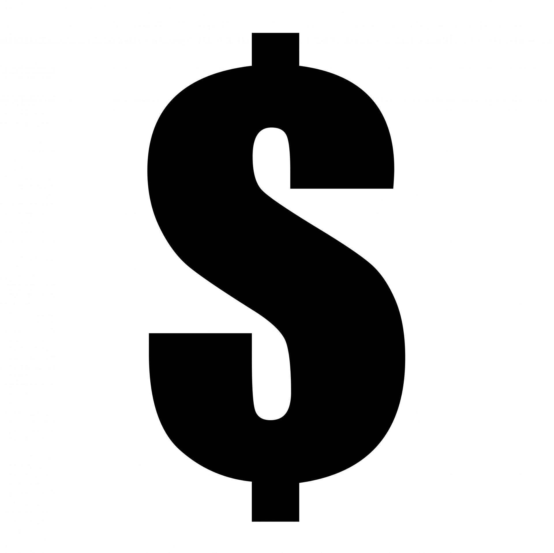 1920 1915 In Dollar Sign Black